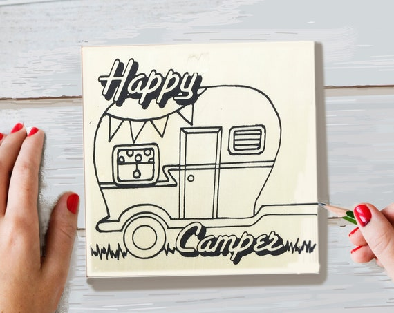 Wood Board, Happy Camper, Adult Coloring, Adult Craft Kit, Make Your Own Art, Crafts for Adults, DIY Home Decor, Sign Making Kit, Wood Sign
