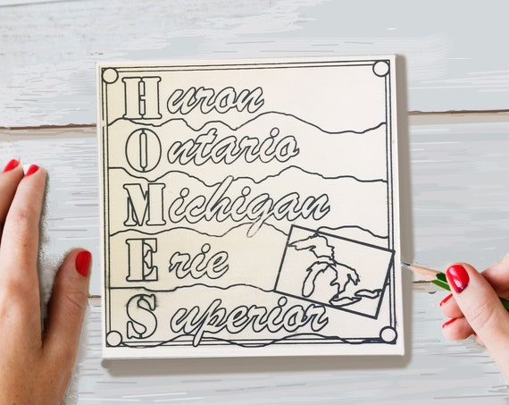 Wood Board, HOMES, Great Lakes, Adult Coloring, Adult Craft Kit, Make Your Own Art, Crafts for Adults, DIY Home Decor, Girls Night In