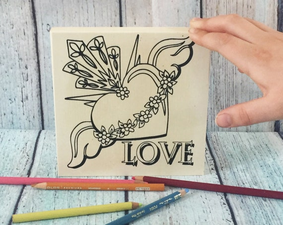 Wood Board, LOVE, Sacred Heart, Adult Coloring, Make Your Own Art, Crafts for Adults, DIY Home Decor, Sign Making, Wood Sign, Girls Night In