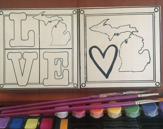 Coloring Board Craft Kit, Love Michigan, State of Michigan, Michigan Map, Michigan Gift, Great Lakes, Adult Coloring, Made in Michigan