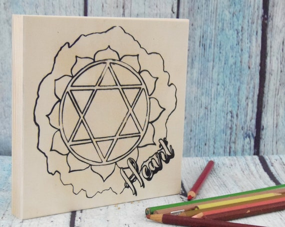 Wood Board, Heart Chakra, Adult Coloring, Wood Sign, Make Your Own Art, Energy Healing, DIY Home Decor, DIY Wood Sign, Girls Night In