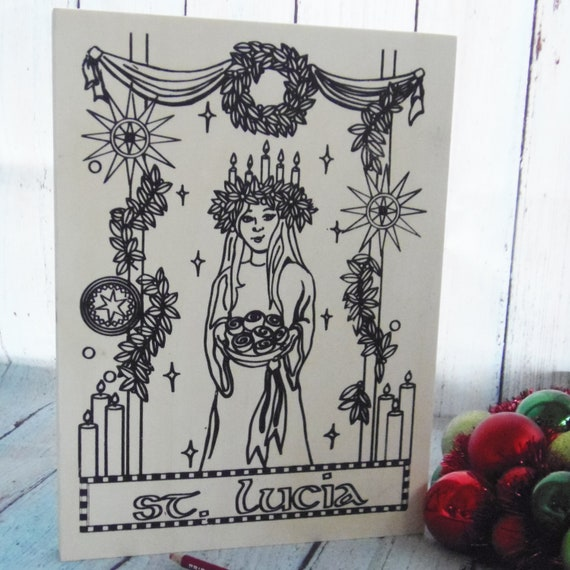 Wood Board, St. Lucia, Adult Coloring, Adult Craft Kit, Make Your Own Art, Crafts for Adults, Sign Making Kit, Catholic Saints, Christmas