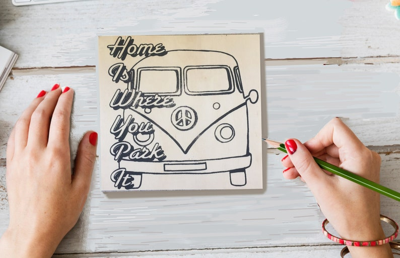 Craft Kit, Coloring Board, Home is Where You Park It, VW Bus, Hippie Van,  Wood Sign Kit, Road Trip, Wanderlust, Make Your Own Art, Sign Kit