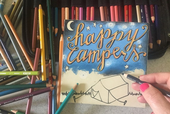 Coloring Page, Happy Campers, Wood Board, Camp Theme, Gift for Campers, Adult Coloring, Road Trip, Travel Theme, Moment of Zen, Tent Camping