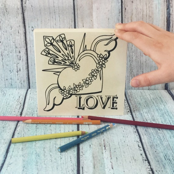 Wood Board, LOVE, Sacred Heart, Craft Kit, Winged Heart, Unique Coloring Gift,Make Your Own Art, Wood Sign Kit, DIY Home Decor, Girls Night