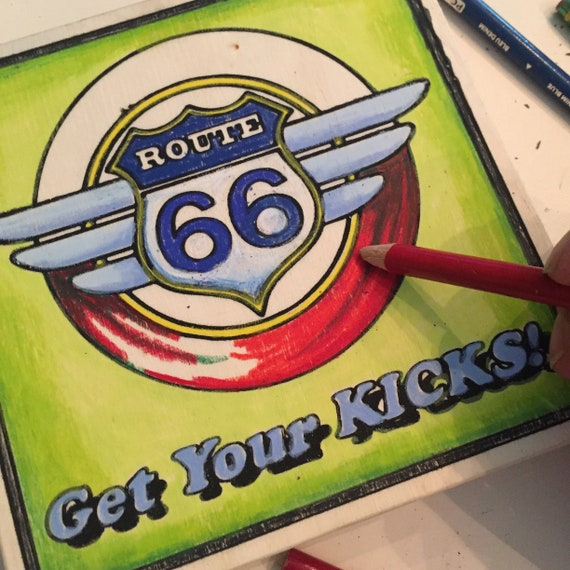 Get Your Kicks, Adult Coloring, Wood Board, Route 66, Travel Theme, Road Trip, Wanderlust, Nostalgic Craft, Family Vacation, Gifts Under 20