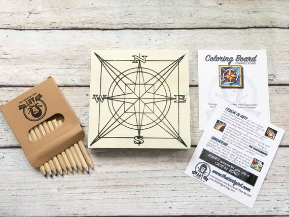 Craft Kit, Compass, Adult Coloring, Adult Craft Kit, Make Your Own Art, Crafts for Adults, DIY Home Decor, Girls Night In, Wood Sign Kit