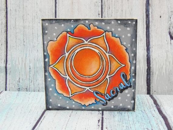 Sacral Chakra, Orange Chakra, Finished Art Piece, Colored Pencil,  Coloring Board, 7 chakras, Reiki symbols, Energy Healing, Gifts for Yogis