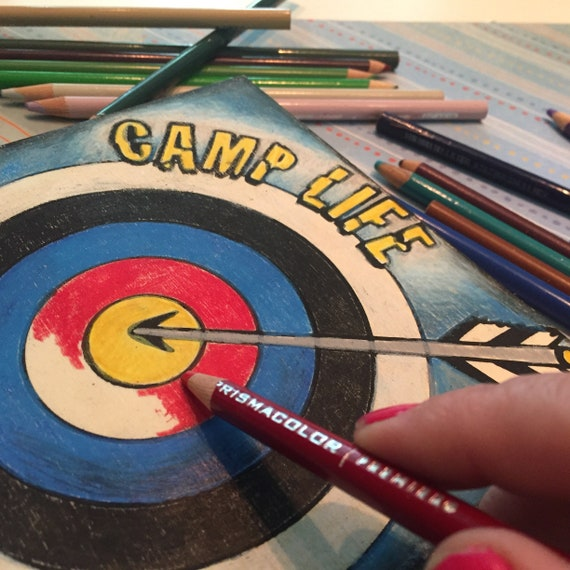 Finished Art Piece, Camp Life Archery, Adult Coloring, Kids Party, Colored Pencil, Wood Sign, Camp Home Decor, Kids Room Decor, Camper Gifts