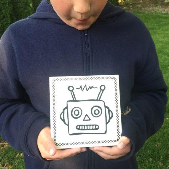 Craft Kit, Robot, Retro Robot, Make Your Own Art, DIY Home Decor, Sign Making Kit, Wood Sign, Crafts for Kids, Robot Birthday Party
