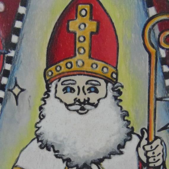 Coloring Board, Saint Nicholas, Craft Kit, St Nick, Catholic Saints, Santa Claus, Unique Coloring Gift, Devotional Gift, Father Christmas