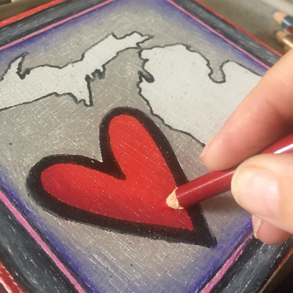 Coloring Page, Heart Love  Michigan, Wood Board, Michigan, Michigan Map, Adult Coloring, Great Lakes, Moment of Zen, Gifts Under 15