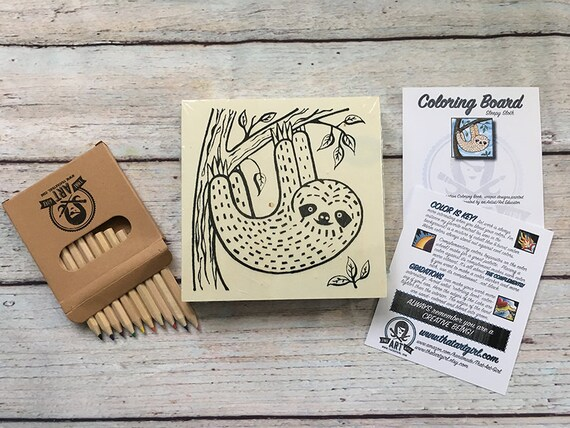 Craft Kit for Kids, Craft Kit for Adults, Sloth, Coloring Board, Sloth Gift, Sloth Birthday, Sloth Party, Sloth Decor, Sloth Wall Hanging