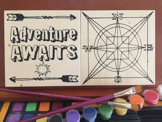 Coloring Board Craft Kit, 2 pack, Adventure Awaits, Compass, Wanderlust Gift, Wanderlust Decor, Road Trip, Travel Theme, Coloring Hobby