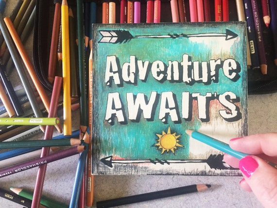 Wood Board, Adventure Awaits, Finished Art Piece, Nursery Decor, Craft Kit, Birthday Craft, Road Trip, Wanderlust, Family Vacation