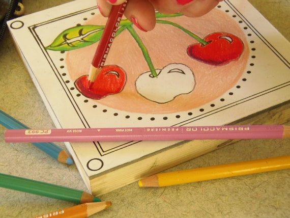Coloring Page, Cherries, Wood Board, Zen Meditation, Home Decor, Adult Coloring, Made in Michigan, Mother's Day Gift, Gifts Under 15