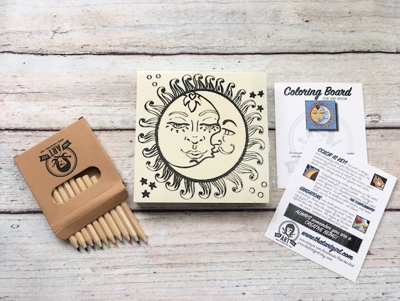 Craft Kit, Sun and Moon, Adult Coloring, Adult Craft Kit, Make Your Own Art, Crafts for Adults, DIY Home Decor, Sign Making Kit, Wood Sign
