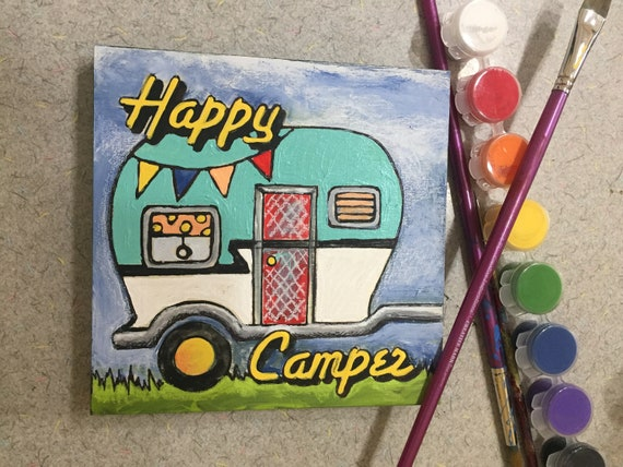 Finished Art Piece, Happy Camper, Wood Board, Camp Theme, Road Trip, Colored Pencil,  Moment of Zen,Adult Coloring, Nostalgic Craft