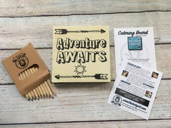 Wood Board, Adventure Awaits, Adult Coloring, Adult Craft Kit, Make Your Own Art, Crafts for Adults, DIY Home Decor, Sign Making, Wood Sign