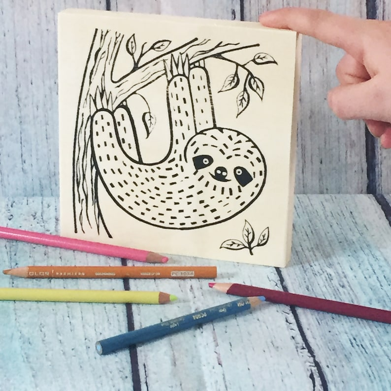 Sloth Birthday Wood Sign Kit Adult Coloring Craft Kit for Kids Craft Kit Make Your Own Art Adult Craft Kit Sloth Crafts for Adults