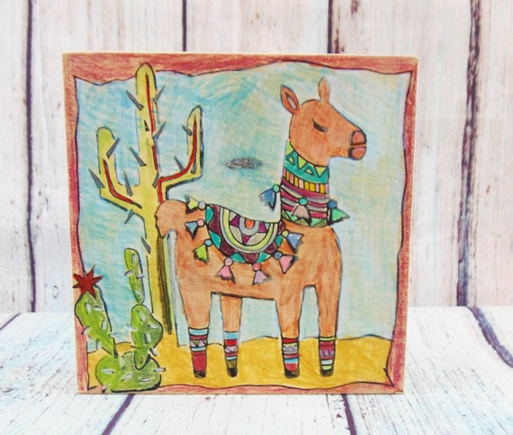 Wood Board, Llama, Finished Art, Prismacolor Pencils, Room Decor for Kids, Llama Birthday Party, Wood Sign Kit, Party Favors, Drama Llama