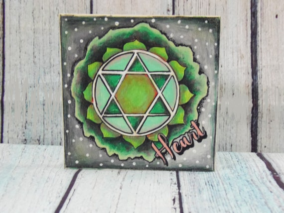 Heart Chakra, Green Chakra, Finished Art Piece, Coloring Board, 7 Chakras, Reiki symbols, Energy Healing, Gift for Yogis, Color Therapy