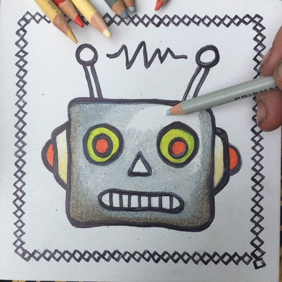 Coloring Board Robot Face Craft Kit Robot Theme Robot   Etsy