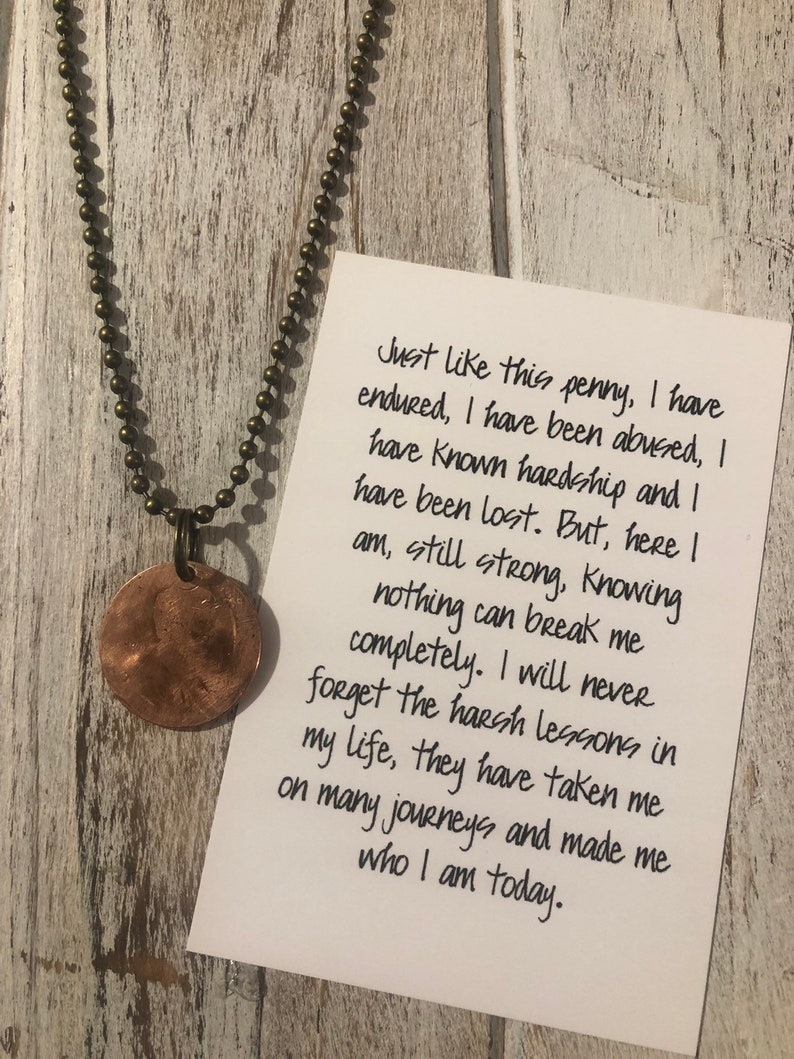 Hardship Loss life lessons recovery grief hammered penny necklace mental  health awareness abuse encouragement gift coin necklace penny charm