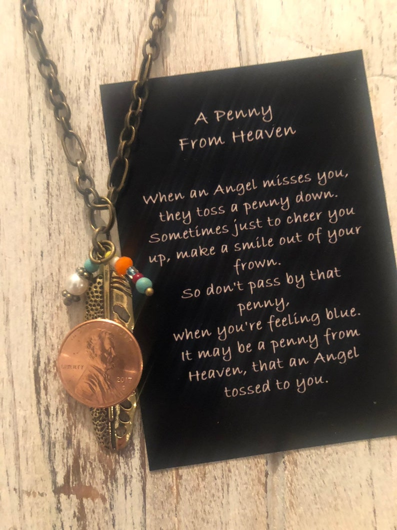 Feather penny from Heaven necklace penny poem pennies from Heaven coin  jewelry sogns ftp Heaven charm penny poem heaven poem