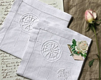 Two old handkerchiefs with monograms T&R