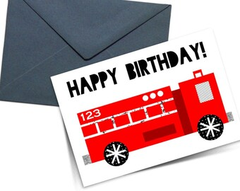Printable Happy Birthday Fire Truck/Engine Greeting Card, Children/Kids Card, Original Illustration, 5x7