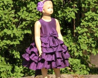 Purple flower girl dress Ruffle flower girl dress Princess flower girl dress Toddler girls dress with bow Flower girl dress purple