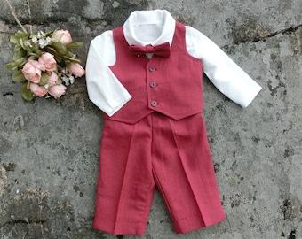 Baby boy Christmas outfit. Boys christmas clothes. Baby first christmas outfit Red linen baby clothes, baby christmas suit, linen outfit boy