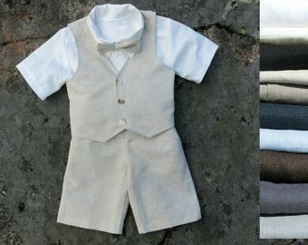 Ring bearer shorts outfit Ring bearer vest bow tie shorts shirt Boys linen suit Linen boy outfit Boys wedding outfit Rustic ring bearer