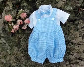 dd61db970e3d0 Light blue baby gingham romper First easter outfit Blue checkered romper  Smash cake outfit 1st birthday romper