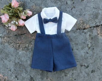 b7f8f75ab Ring bearer outfit navy Linen suspender suit boy Toddler boys wedding  shorts outfit