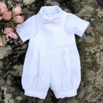 Baby boy Christening romper Baptism outfit for boy Baby white linen romper Baby blessing outfit