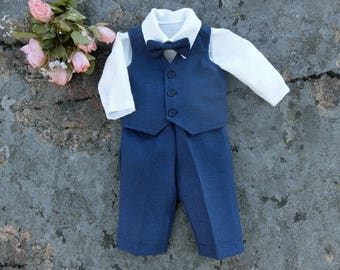 Navy blue baby ring bearer outfit Baby nautical wedding linen suit Beach  wedding suit Baby baptism outfit pants vest shirt and bow tie b18898ceb