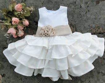 Baby linen dress Infant flower girl dress Rustic baby dress Rustic flower girl dress Baby flower girl dress White linen dress