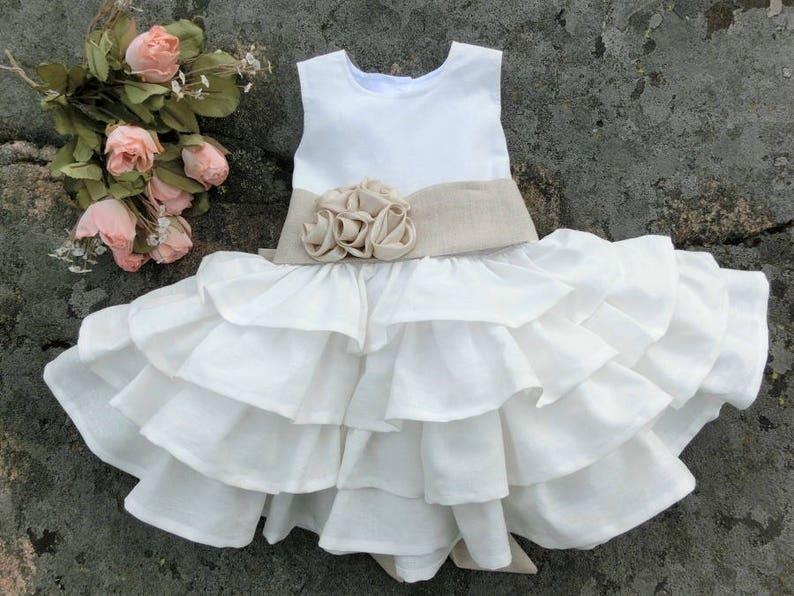 c95bfd91992b Baby flower girl dress in linen Baby girls baptism dress
