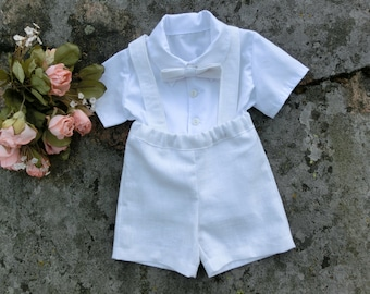 Boy baptism outfit, white linen suspender shorts, Baby christening outfit, Toddler boy baptism outfit  Baby ring bearer suit