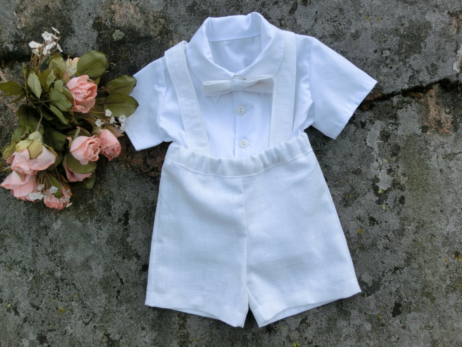 Boy baptism outfit white linen suspender shorts Baby | Etsy