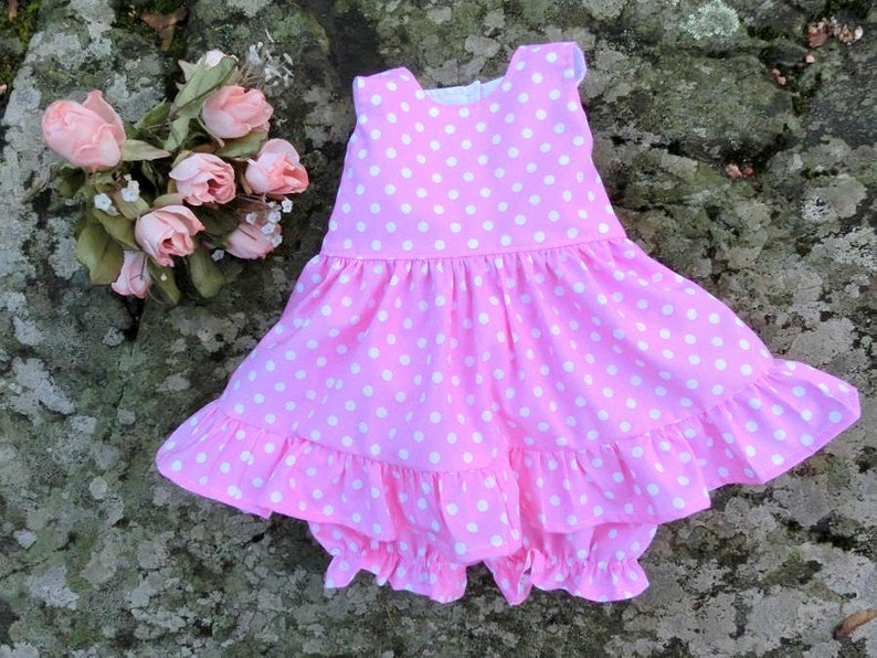 61ff0260aa87 Baby polka dot dress Girls pink dress and bloomers Baby