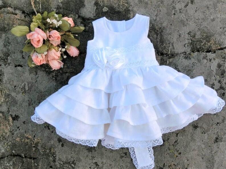 6c8ce761b32 White blessing linen lace dress Baby baptism dress Baby girls
