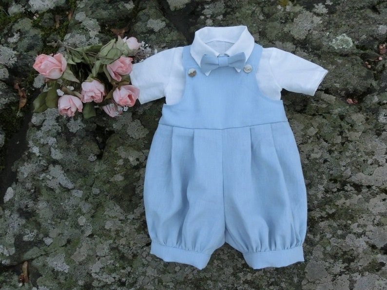 a1bc304ef5df Light blue linen romper baby boy Baptism outfit boy Baby boy
