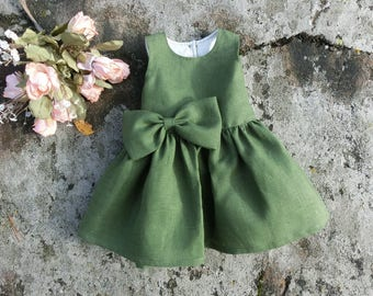 Green baby linen holiday dress, Baby Christmas dress with bow,  St.Patricks Day dress for baby.
