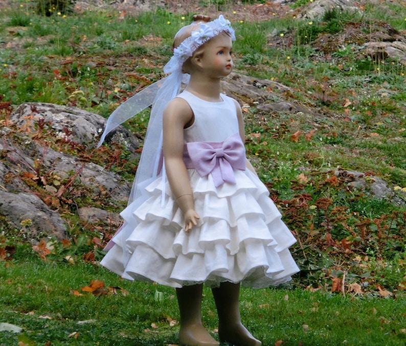 fb19f4e104 Flower girl linen dress, Toddler wedding dusty rose dress, Toddler girl  baptism, Flower girl ruffle dress, Little girls birthday dress