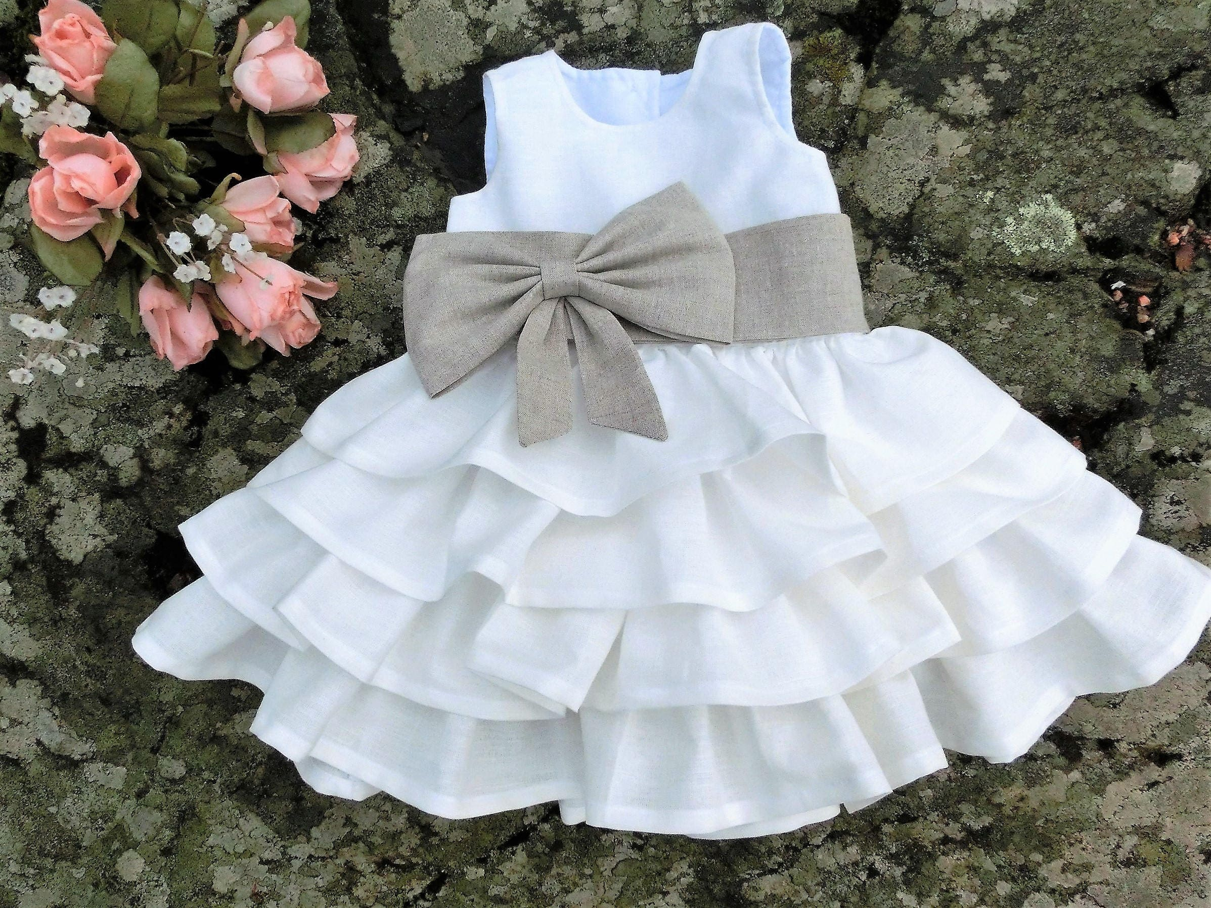 fa22f918ce5c Baby wedding ruffle dress in linen Baby girls Christening