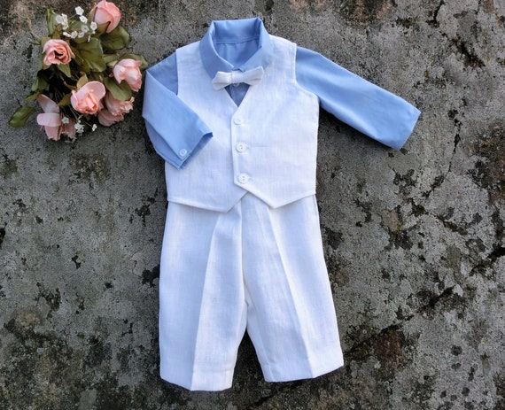 1bd0edde1 Baby ring bearer outfit boys linen wedding suit Baby boy