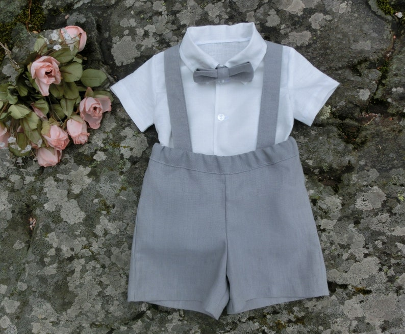 Boys suspender linen shorts Ring bearer outfit grey Baby image 0